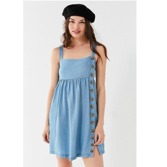 UO-Lindsay Button-Up Chambray Mini Dress